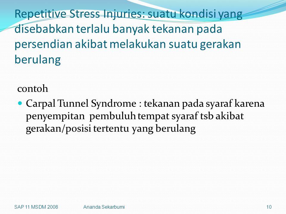 Repetitive Stress Injuries: suatu kondisi yang disebabkan terlalu banyak tekanan pada persendian akibat melakukan suatu gerakan berulang