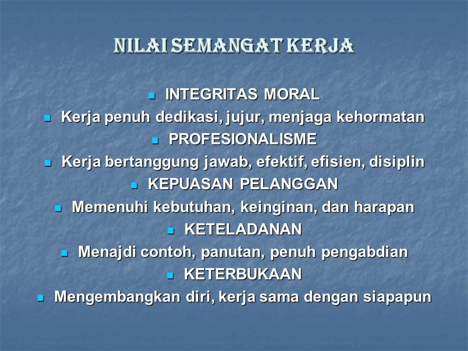 Nilai semangat kerja INTEGRITAS MORAL