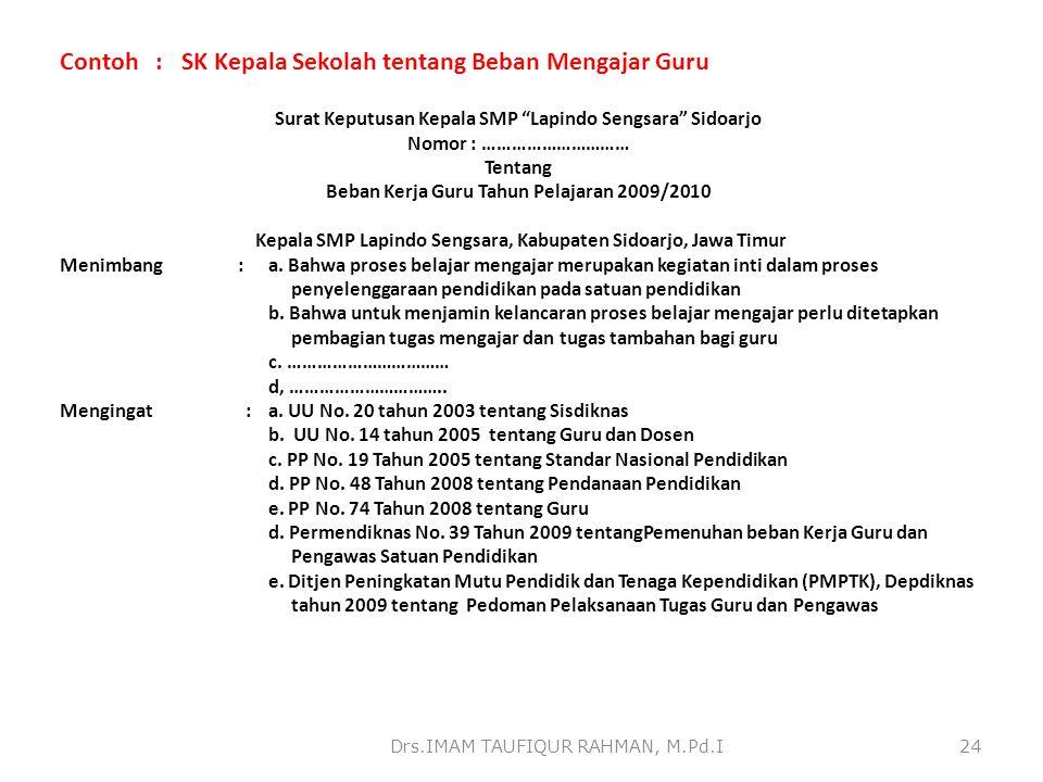 Contoh : SK Kepala Sekolah tentang Beban Mengajar Guru