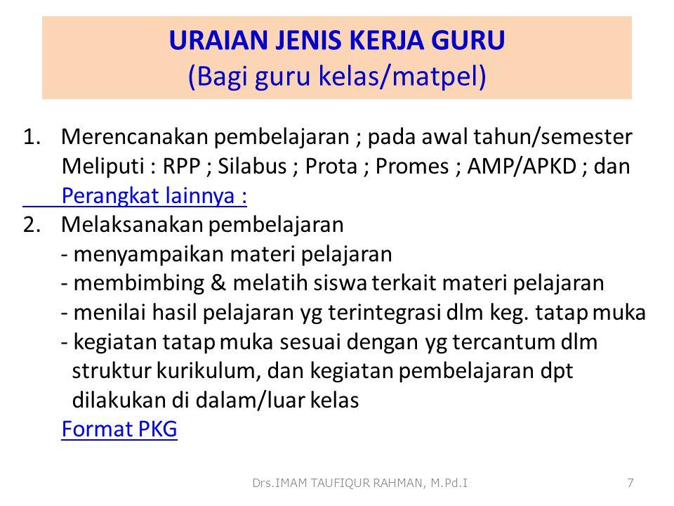 URAIAN JENIS KERJA GURU (Bagi guru kelas/matpel)