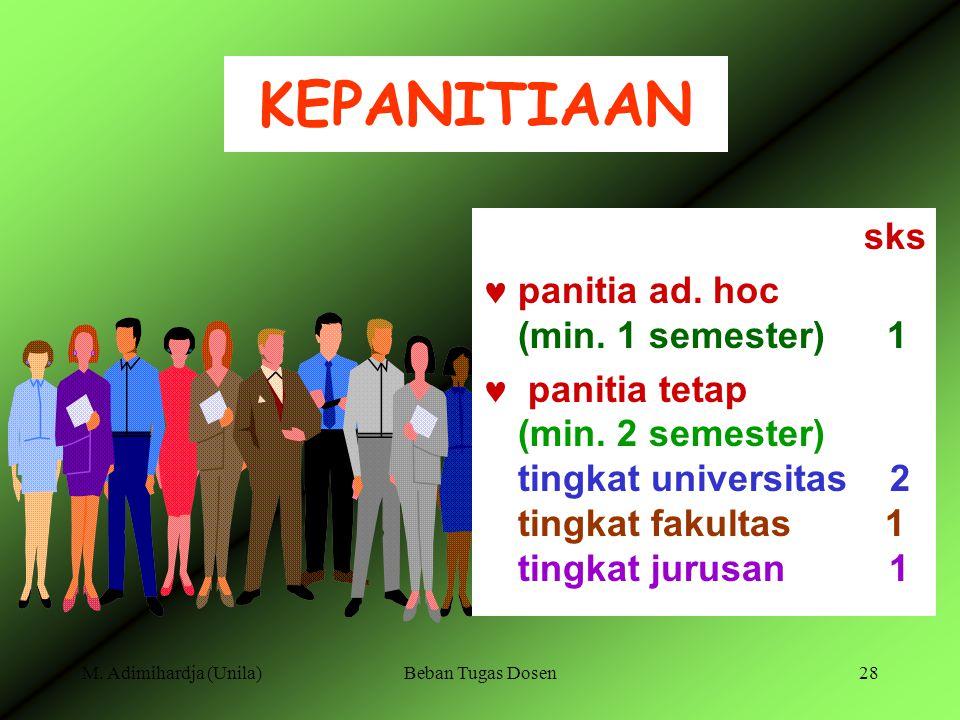 KEPANITIAAN sks panitia ad. hoc (min. 1 semester) 1