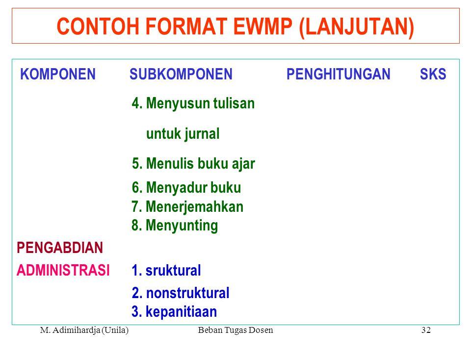 CONTOH FORMAT EWMP (LANJUTAN)