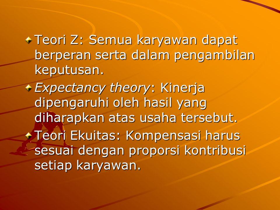Teori Z: Semua karyawan dapat berperan serta dalam pengambilan keputusan.