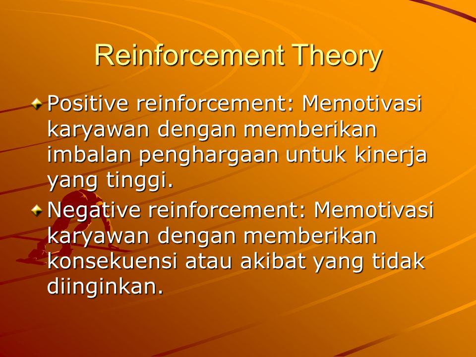 Reinforcement Theory Positive reinforcement: Memotivasi karyawan dengan memberikan imbalan penghargaan untuk kinerja yang tinggi.