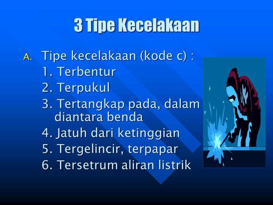 3 Tipe Kecelakaan Tipe kecelakaan (kode c) : 1. Terbentur 2. Terpukul