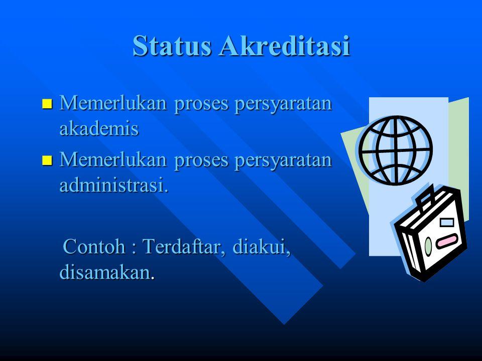 Status Akreditasi Memerlukan proses persyaratan akademis