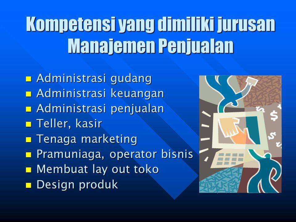 Kompetensi yang dimiliki jurusan Manajemen Penjualan