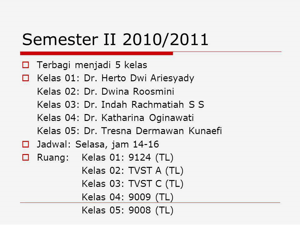 Semester II 2010/2011 Terbagi menjadi 5 kelas