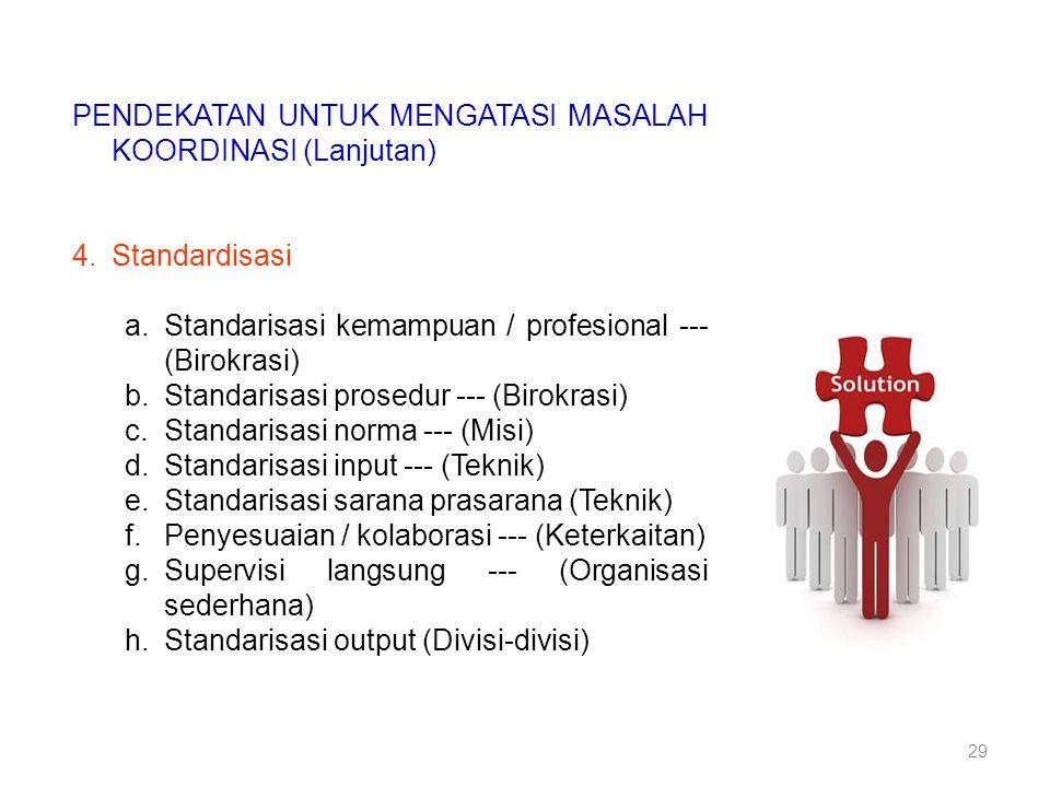 PENDEKATAN UNTUK MENGATASI MASALAH KOORDINASI (Lanjutan)