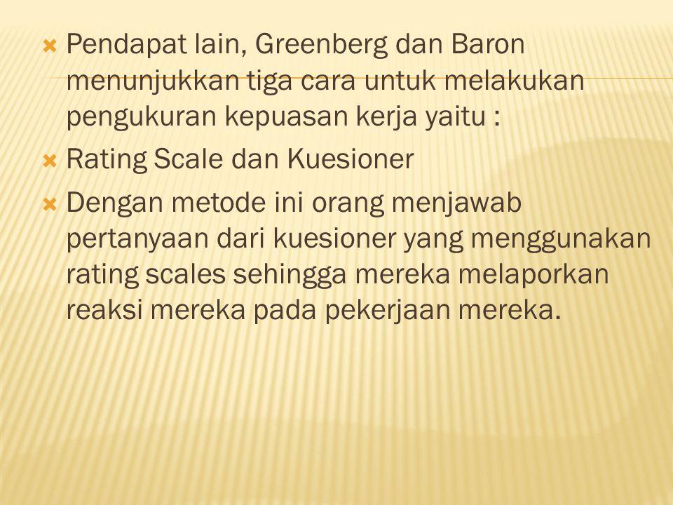 Pendapat lain, Greenberg dan Baron menunjukkan tiga cara untuk melakukan pengukuran kepuasan kerja yaitu :
