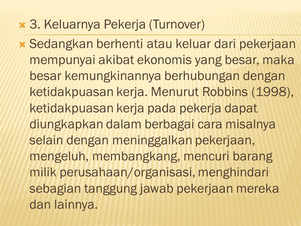 3. Keluarnya Pekerja (Turnover)