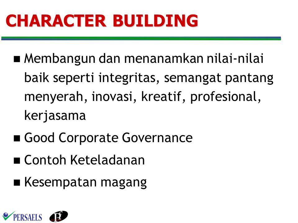 CHARACTER BUILDING Membangun dan menanamkan nilai-nilai baik seperti integritas, semangat pantang menyerah, inovasi, kreatif, profesional, kerjasama.