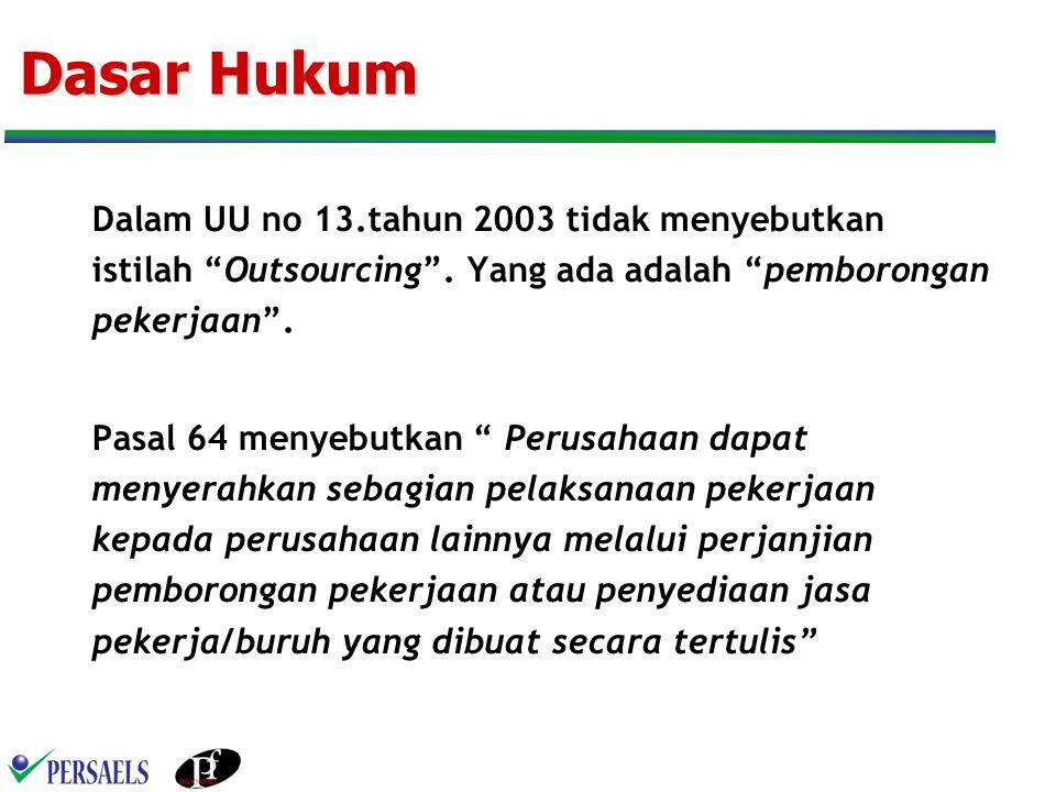 Dasar Hukum Dalam UU no 13.tahun 2003 tidak menyebutkan istilah Outsourcing . Yang ada adalah pemborongan pekerjaan .