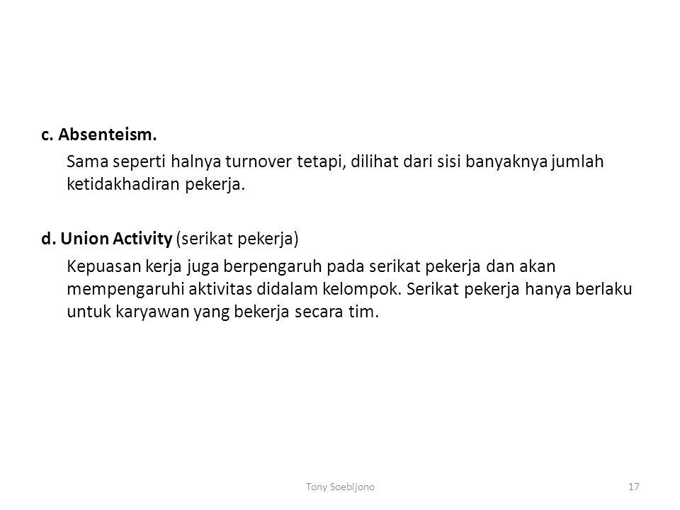 d. Union Activity (serikat pekerja)