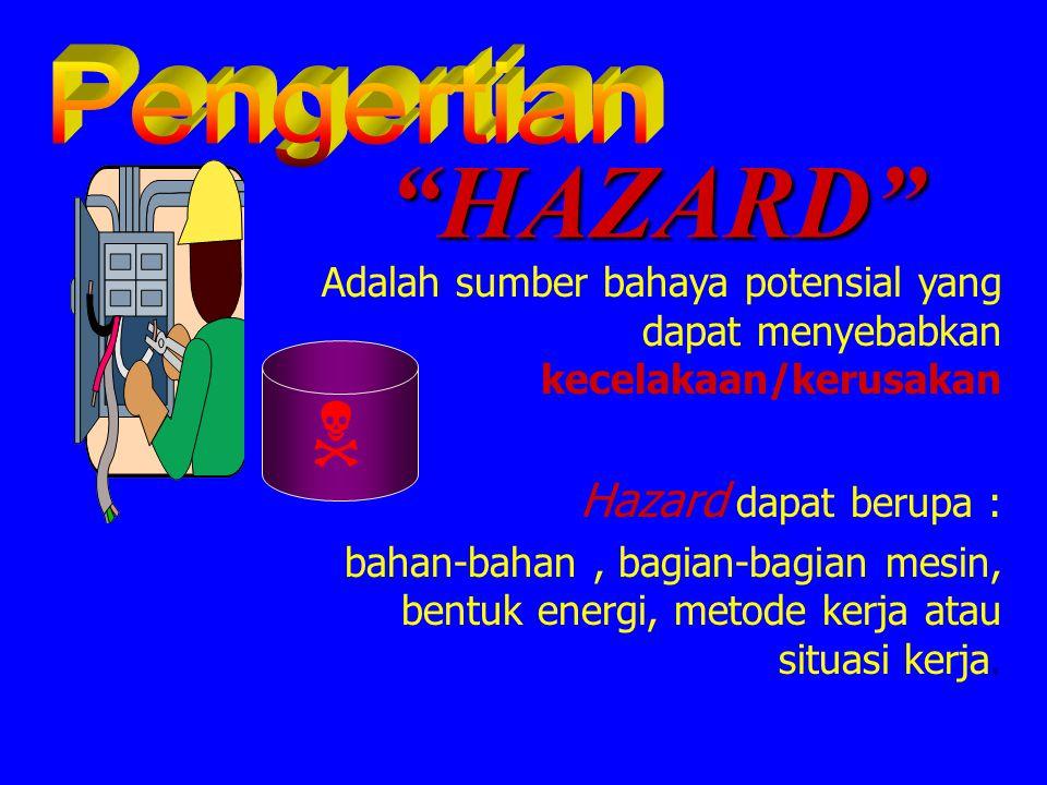 Pengertian HAZARD Adalah sumber bahaya potensial yang dapat menyebabkan kecelakaan/kerusakan. Hazard dapat berupa :