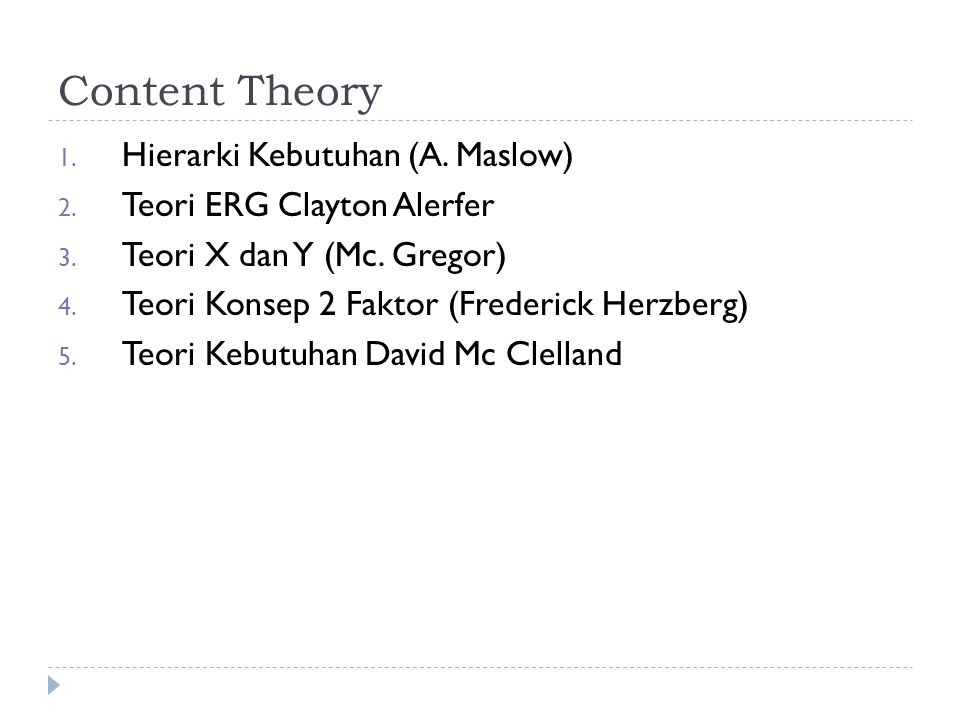 Content Theory Hierarki Kebutuhan (A. Maslow)