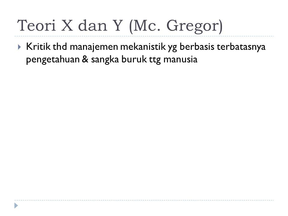 Teori X dan Y (Mc. Gregor)