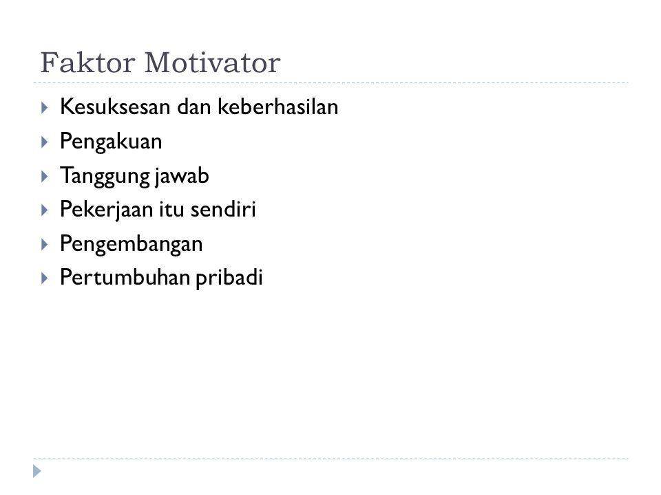 Faktor Motivator Kesuksesan dan keberhasilan Pengakuan Tanggung jawab
