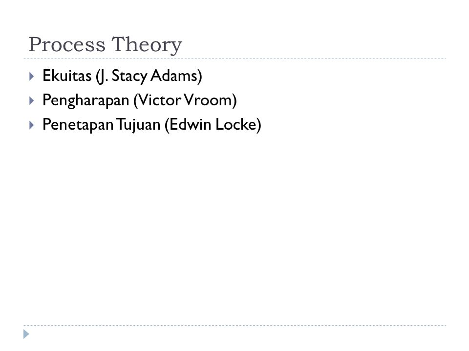Process Theory Ekuitas (J. Stacy Adams) Pengharapan (Victor Vroom)