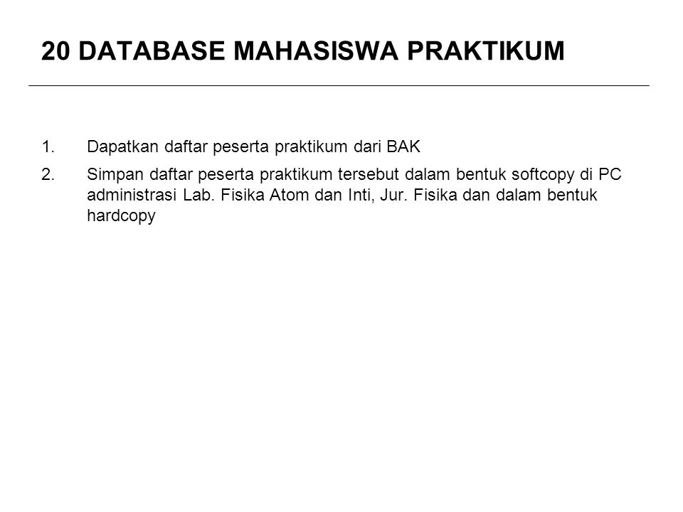 20 DATABASE MAHASISWA PRAKTIKUM