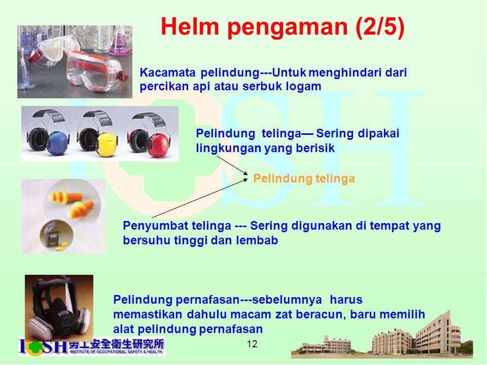 Helm pengaman (2/5) Kacamata pelindung---Untuk menghindari dari percikan api atau serbuk logam.