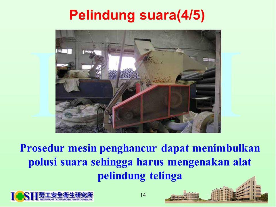 Pelindung suara(4/5) Prosedur mesin penghancur dapat menimbulkan polusi suara sehingga harus mengenakan alat pelindung telinga.