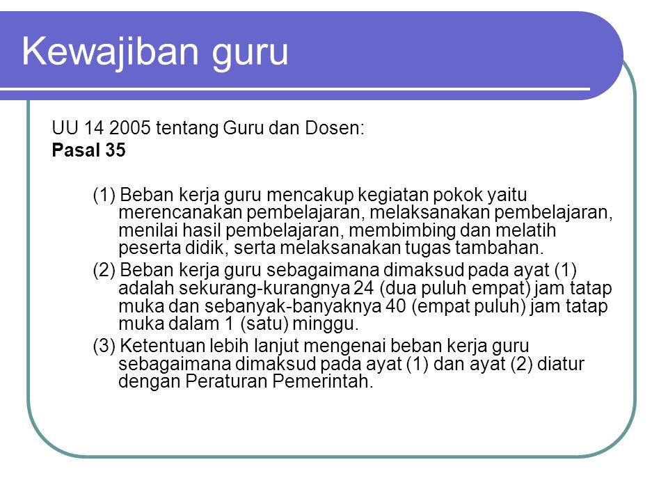 Kewajiban guru UU 14 2005 tentang Guru dan Dosen: Pasal 35