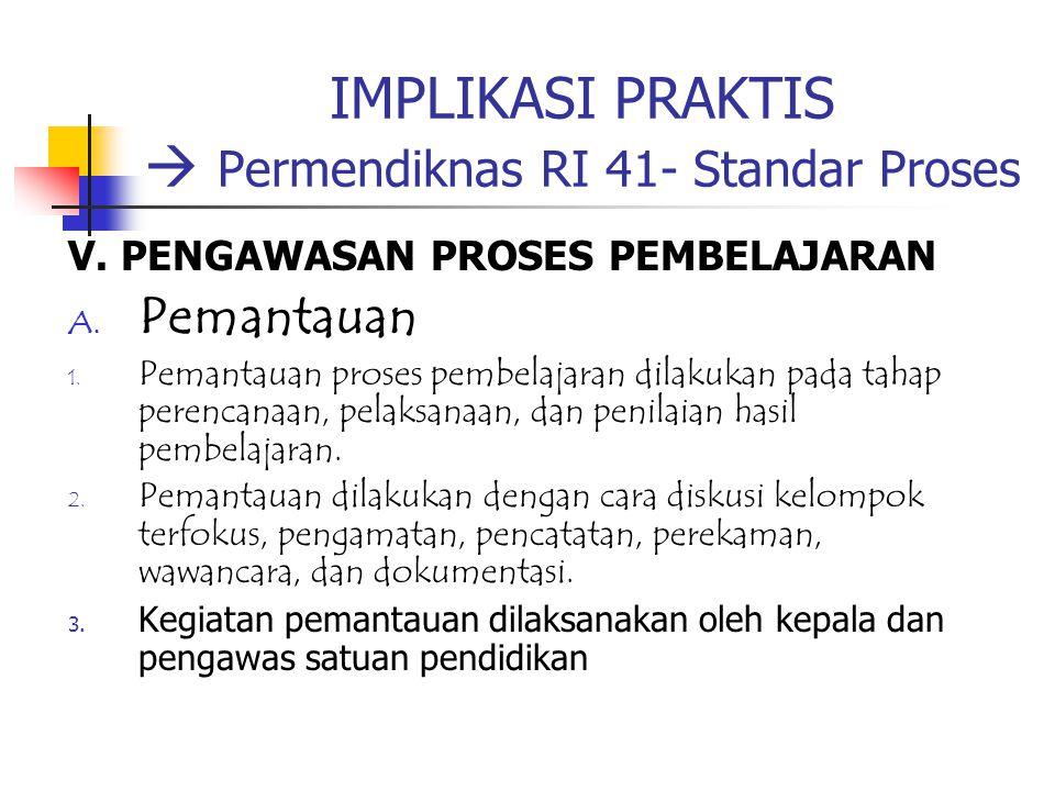 IMPLIKASI PRAKTIS  Permendiknas RI 41- Standar Proses