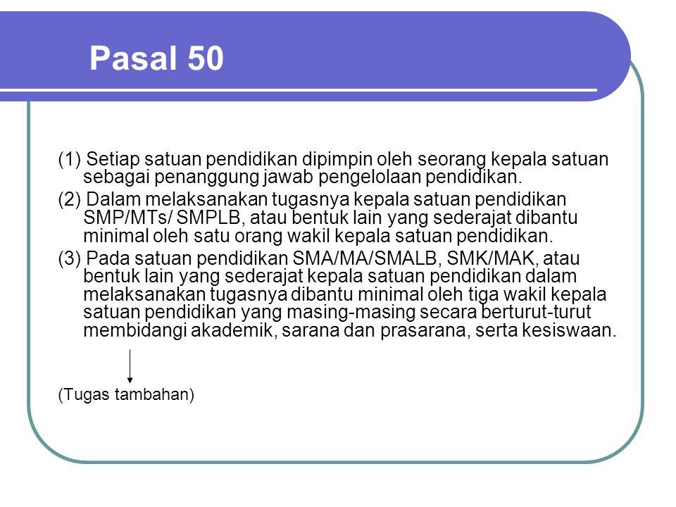 Pasal 50 (1) Setiap satuan pendidikan dipimpin oleh seorang kepala satuan sebagai penanggung jawab pengelolaan pendidikan.