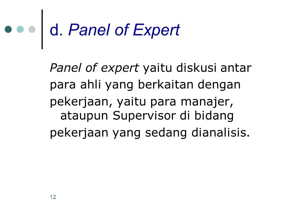 d. Panel of Expert Panel of expert yaitu diskusi antar