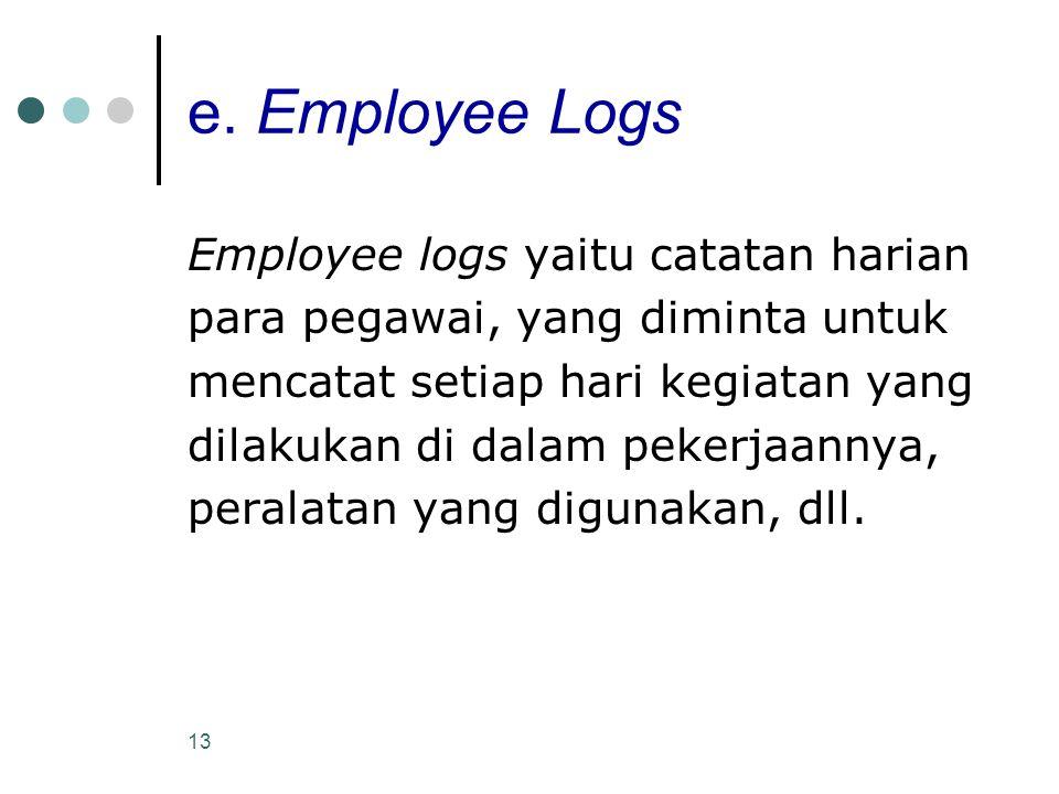 e. Employee Logs Employee logs yaitu catatan harian