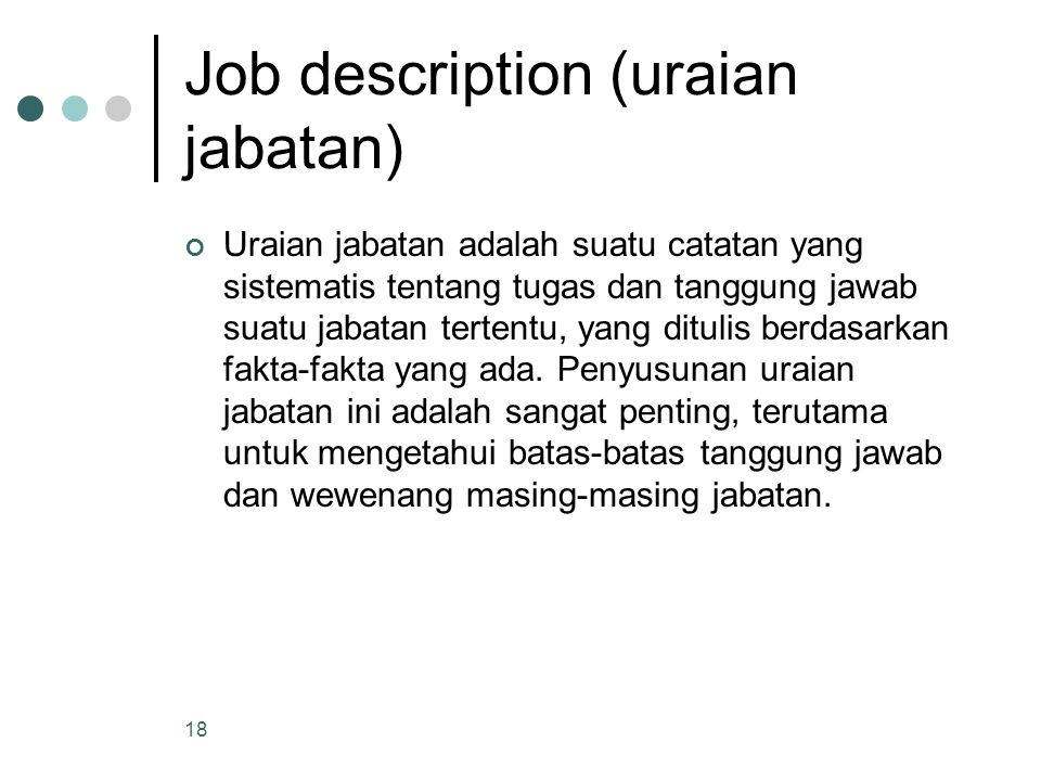 Job description (uraian jabatan)