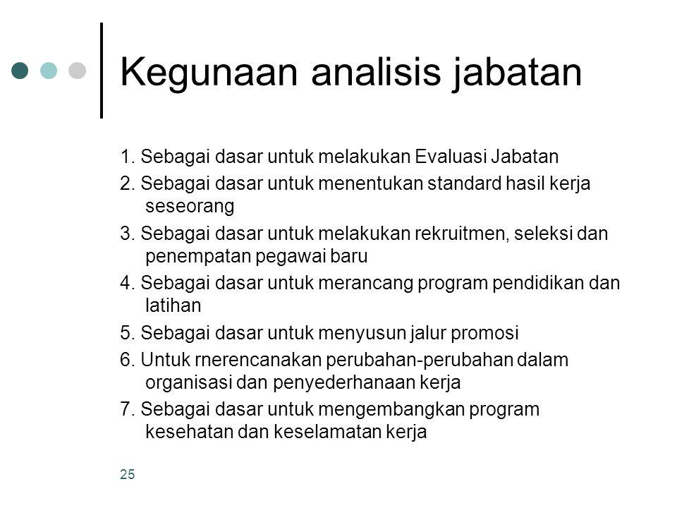 Kegunaan analisis jabatan