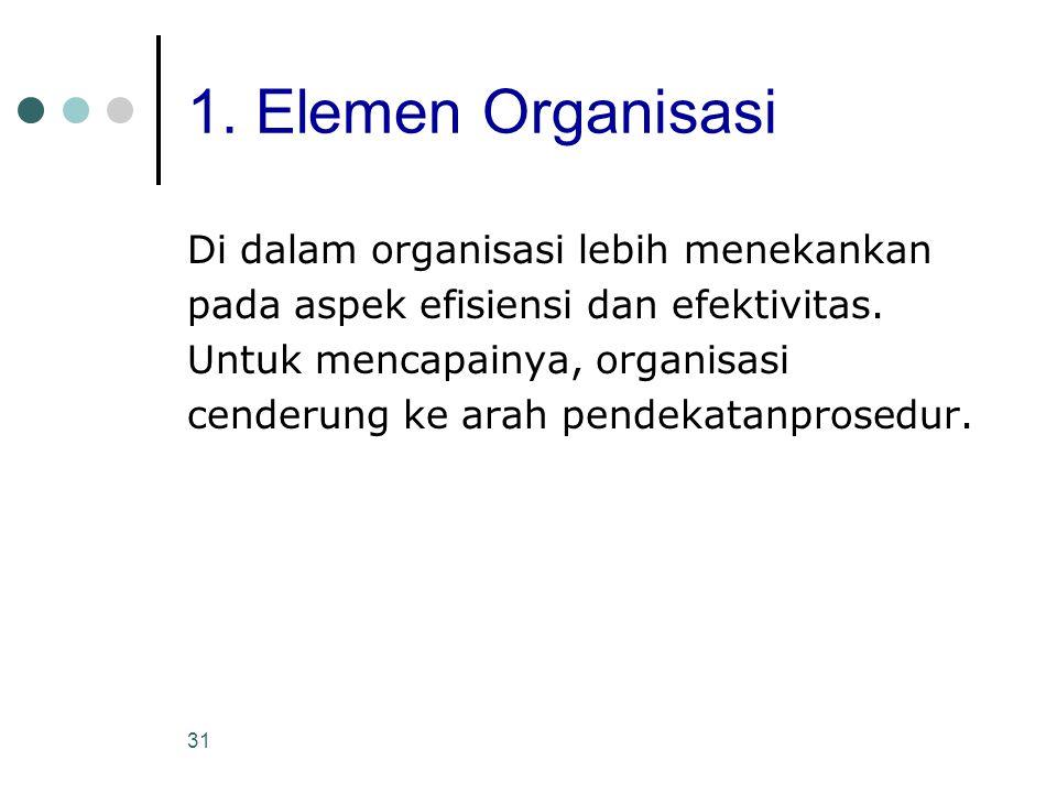 1. Elemen Organisasi Di dalam organisasi lebih menekankan