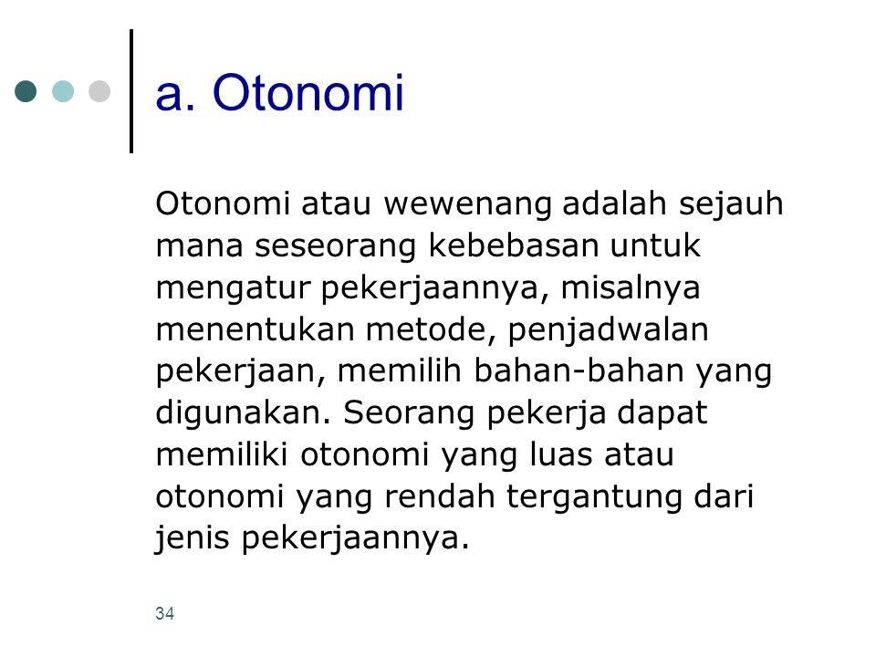 a. Otonomi Otonomi atau wewenang adalah sejauh
