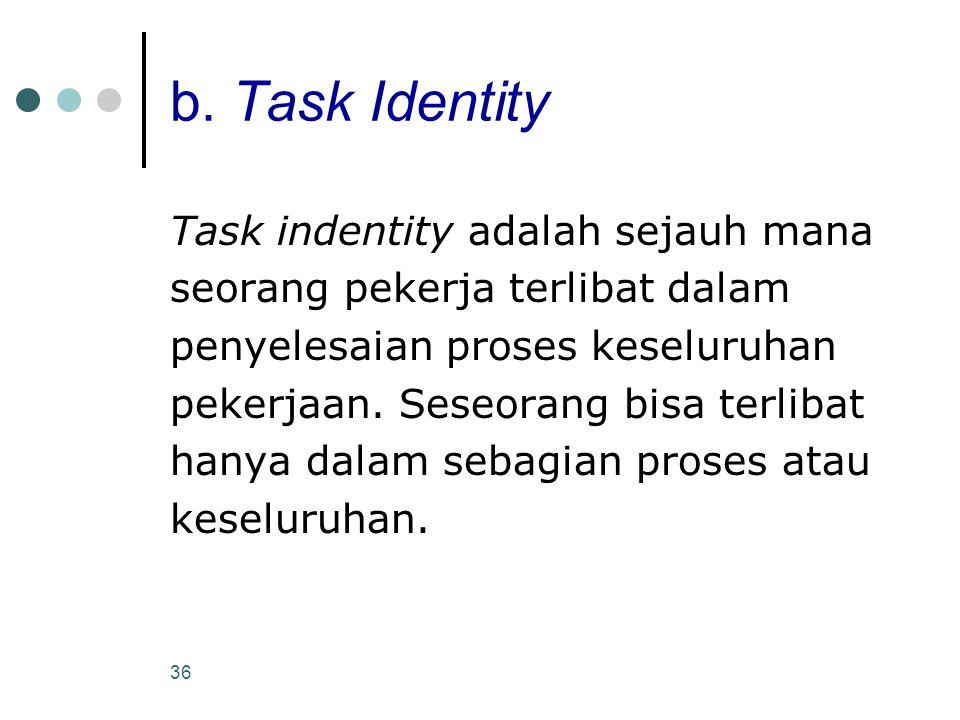 b. Task Identity Task indentity adalah sejauh mana