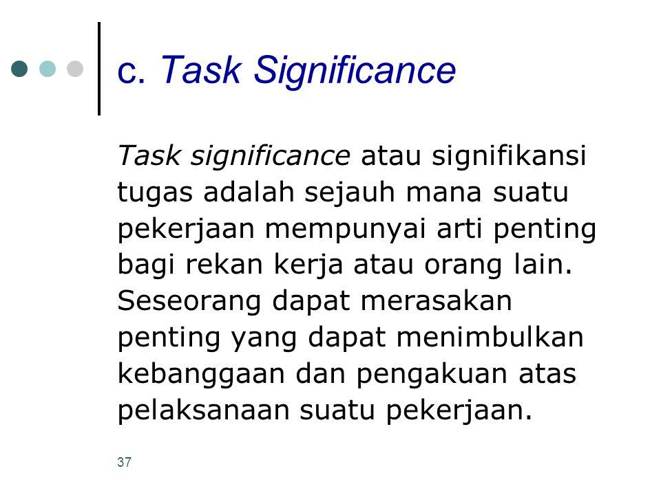 c. Task Significance Task significance atau signifikansi