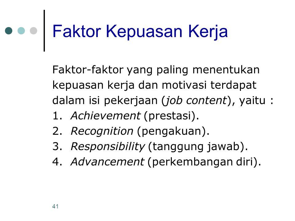 Faktor Kepuasan Kerja Faktor-faktor yang paling menentukan