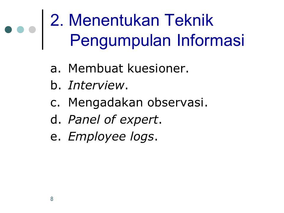 2. Menentukan Teknik Pengumpulan Informasi