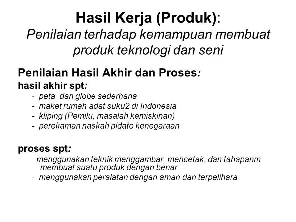 Hasil Kerja (Produk): Penilaian terhadap kemampuan membuat produk teknologi dan seni