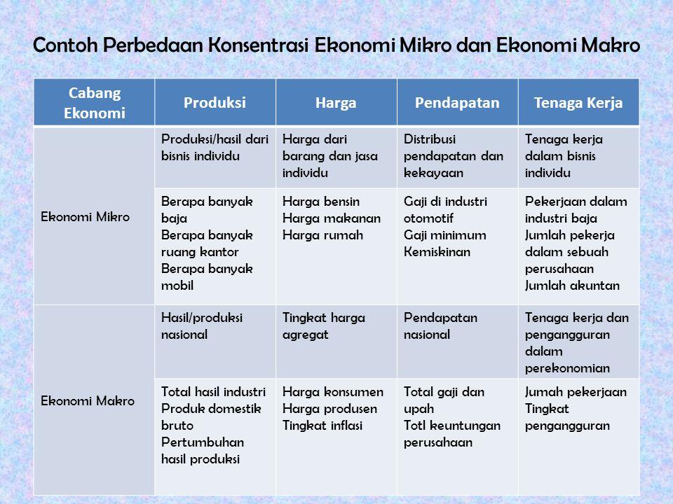Contoh Perbedaan Konsentrasi Ekonomi Mikro dan Ekonomi Makro