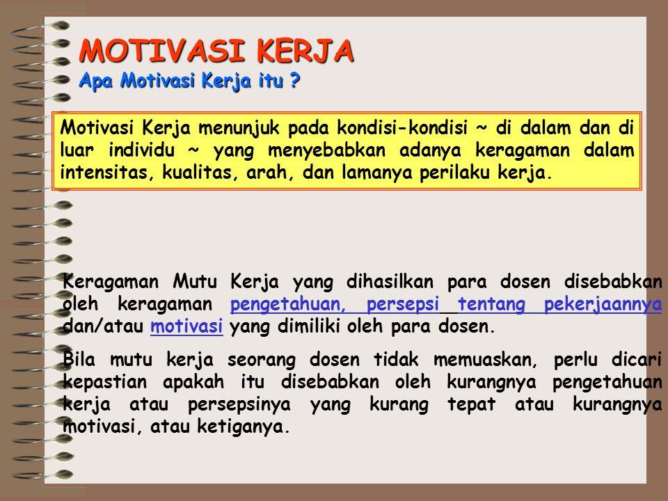 MOTIVASI KERJA Apa Motivasi Kerja itu