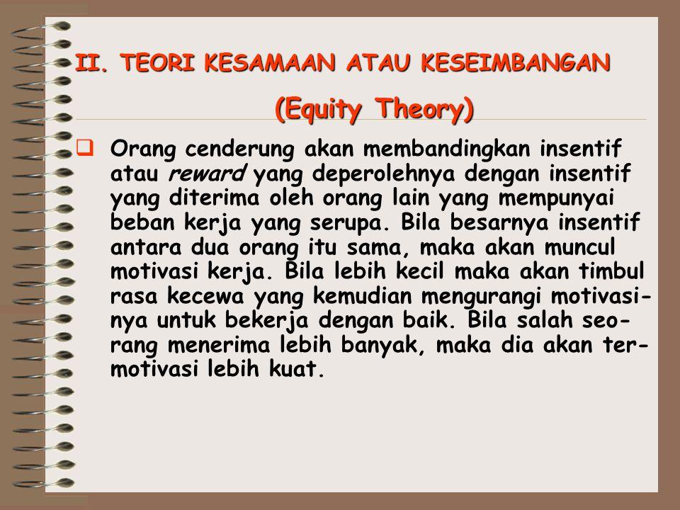 (Equity Theory) II. TEORI KESAMAAN ATAU KESEIMBANGAN