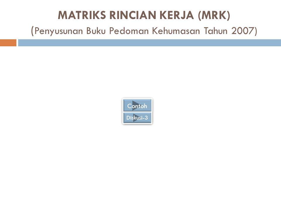 MATRIKS RINCIAN KERJA (MRK) (Penyusunan Buku Pedoman Kehumasan Tahun 2007)