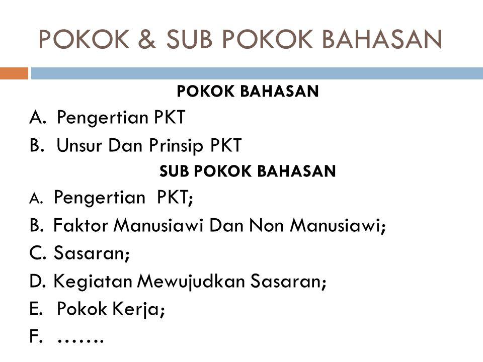 POKOK & SUB POKOK BAHASAN
