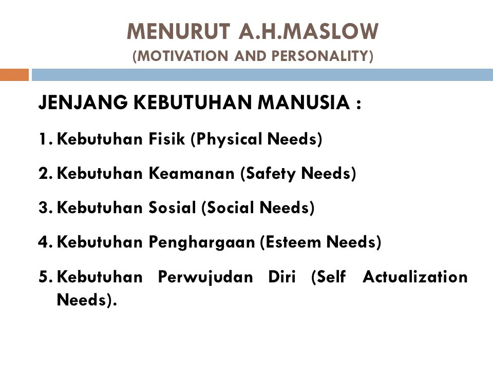 MENURUT A.H.MASLOW (MOTIVATION AND PERSONALITY)
