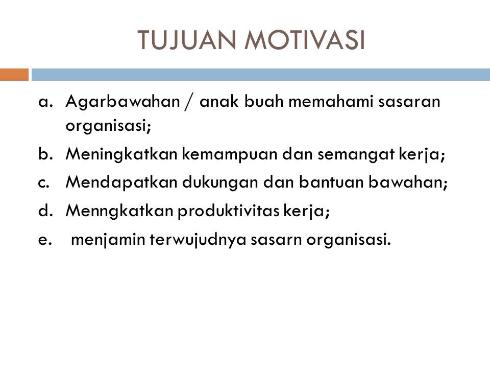 TUJUAN MOTIVASI Agarbawahan / anak buah memahami sasaran organisasi;
