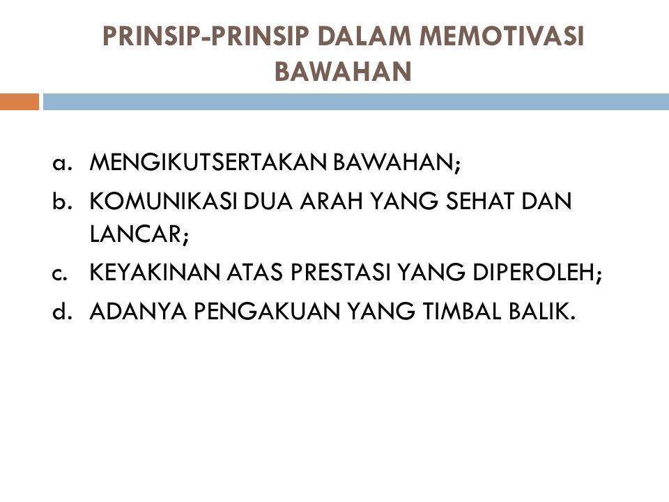 PRINSIP-PRINSIP DALAM MEMOTIVASI BAWAHAN