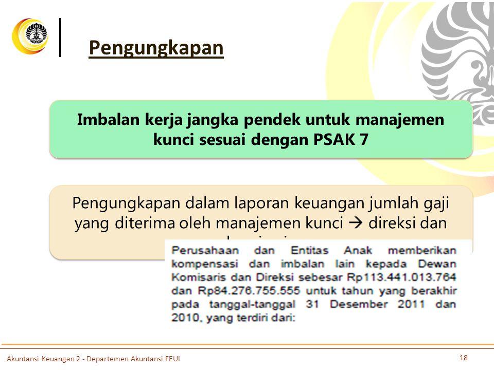 Imbalan kerja jangka pendek untuk manajemen kunci sesuai dengan PSAK 7
