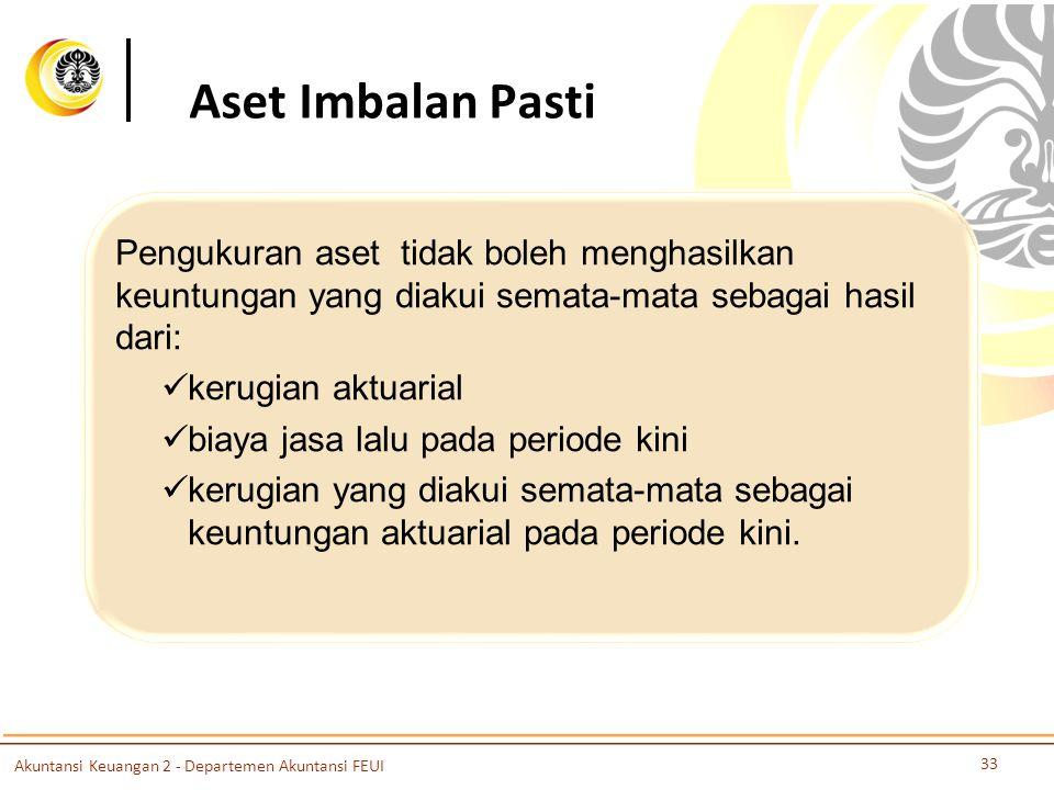 Aset Imbalan Pasti Pengukuran aset tidak boleh menghasilkan keuntungan yang diakui semata-mata sebagai hasil dari: